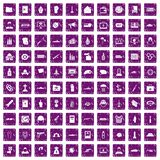 100 war icons set grunge purple. 100 war icons set in grunge style purple color isolated on white background vector illustration stock illustration