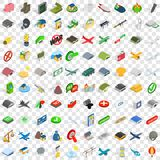 100 war icons set, isometric 3d style. 100 war icons set in isometric 3d style for any design vector illustration Royalty Free Stock Image