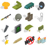 War Icons set, isometric 3d style Stock Photo
