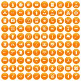 100 war icons set orange. 100 war icons set in orange circle isolated on white vector illustration vector illustration