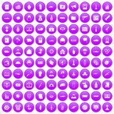 100 war icons set purple. 100 war icons set in purple circle isolated on white vector illustration stock illustration