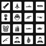 War icons set squares vector Stock Image