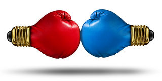 War Of Ideas. And debating innovative concepts with a group of two red and blue boxing gloves shaped as light bulbs fighting for creative supremacy as a stock illustration