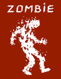 War with the invasion of zombies. Vector illustration. Scary character silhouette. The horror genre. Red color background Stock Images