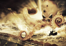 War with a large sea monster - octopus alien Stock Photo