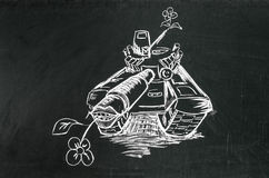 War machine. Drawed on blackboard with chalk Royalty Free Stock Images