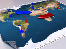 War map. 3d illustration of world map with flags and arrows, war game Royalty Free Stock Photo