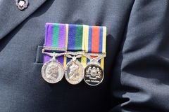 War medals pinned to veterans chest Royalty Free Stock Photo