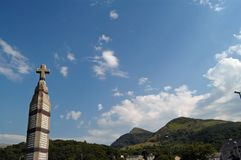 War memorial. In village of Llanberis with blue sky and cloudscape background, Wales, United Kingdom Royalty Free Stock Photo