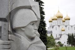 War memorial and Assumption Church in Yaroslavl, Russia. Royalty Free Stock Photography