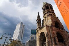 War Memorial in Berlin. View of one of Berlin`s most famous landmarks, the Kaiser Wilhelm Memorial Church on April 14, 2017 in Berlin, Germany. The ruin of the Royalty Free Stock Image