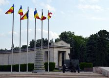 War memorial in Carol Park, Bucharest, Romania. Memorial in Parcu Carol, Bucharest, to Romania's fallen soldiers in the Second World War stock photo