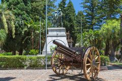 The war memorial in the Central Park in Taormina in Sicily royalty free stock image