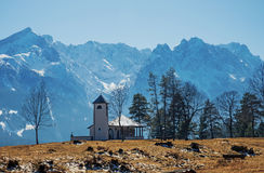 War memorial chapel with view to wetterstein mountains Stock Image