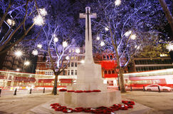 War memorial with Christmas Lights Display Royalty Free Stock Photography