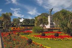 War Memorial at Clacton. The war memorial at Clacton on Sea in Essex, England is surrounded by a colourful garden Stock Photos