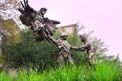War memorial copper statue. In Texas state capitol  landscape view royalty free stock images