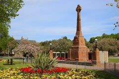 Ornamental garden and war memorial royalty free stock photo
