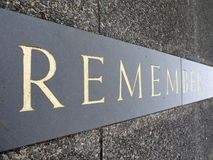 War Memorial inscription: remember Royalty Free Stock Photos