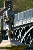 War Memorial, Ironbridge, England. A war memorial featuring a cast iron statue of a British soldier to commemorate the losses during the two World Wars.  The Stock Images