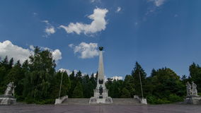 War memorial with moving clouds time lapse. Monument of heroes. 4K stock video