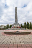 War memorial Obelisk to the liberators of the city of Rzhev on the mound of Glory. Tver region. 25-meter obelisk was installed on a massive granite pedestal on Royalty Free Stock Photos