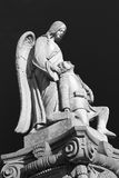 War Memorial Sculpture. Angel and Soldier. Back and White Royalty Free Stock Images