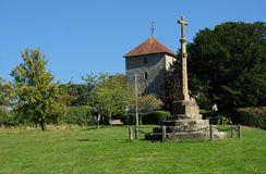 Free War Memorial & St Mary The Virgin Church, Stopham, Sussex, UK Stock Image - 159741061
