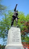 A war memorial statue in Magog. MAGOG QUEBEC CANADA 08 12 2016: A war memorial statue in Magog, Eastern Townships, Quebec, Canada stock photo