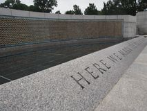 War Memorial in Washington DC. `Here We Mark the Price of Freedom Stock Photos