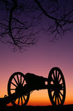 War Memorial Wheeled Cannon Military Civil War Weapon Dusk Sunse Royalty Free Stock Image