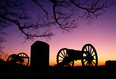 War Memorial Wheeled Cannon Military Civil War Weapon Dusk Sunse Royalty Free Stock Images