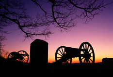 War Memorial Wheeled Cannon Military Civil War Weapon Dusk Sunset royalty free stock image