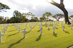 War military cemetery with Jewish Star in Back lighting Royalty Free Stock Photography