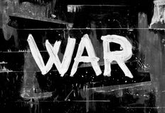 War. Military conflict between enemies - hand-drawn text on dark black background. Dirty painting with scratches, spots and stains royalty free illustration