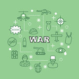 War minimal outline icons Royalty Free Stock Image