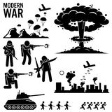 War Modern Warfare Nuclear Bomb Soldier Tank Attack Clipart. Set of human pictogram representing the modern world war. Army soldier is parachuting down from Stock Photos