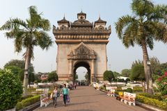 War momument in Vientiane Laos stock photography