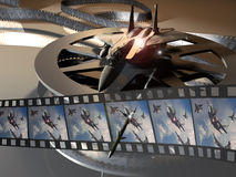 War movie. A composition representing a film roll with images of a fighting planes battle. A F15 fighter plane rests on the film roll, as a missile crosses the stock illustration