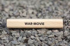 WAR-MOVIE - image with words associated with the topic MOVIE, word, image, illustration Stock Photo