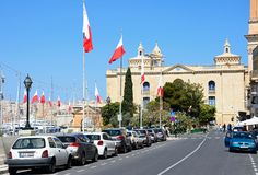 War museum, Vittoriosa. View leading towards the war museum and marina waterfront, Vittoriosa Birgu, Malta, Europe Royalty Free Stock Images