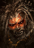 War paint on face of horror character. Monster portrait showing war paint on face of horror character,digital painting,illustration Stock Photo