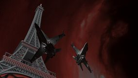War on Paris. The tour Eiffel under a stormy sky, and two fighter airplanes flying around it Stock Photography