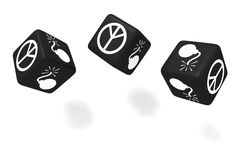War or Peace: black dice on a white background Stock Photography