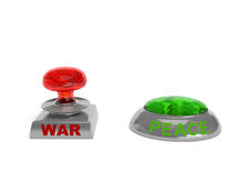 War and Peace buttons. War button in the form of nuclear explosion and Peace button in the form of Earth Royalty Free Stock Images