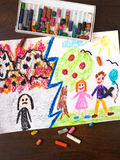 War and Peace. Colorful drawing: War and Peace - two different worlds Stock Images