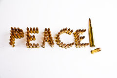 War and Peace Concept. Peace written out with bullets Royalty Free Stock Photo