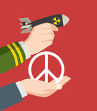 War or Peace. Illustration of a man hand in military uniform holding a nuclear bomb and a hand holding a peace symbol, offering, war and peace symbol Royalty Free Stock Photo