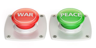 War and peace push button, 3D rendering. On white background Royalty Free Stock Photo