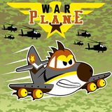 War plane. Angry jet with helicopter on camouflage background, vector cartoon. EPS 10 Stock Image